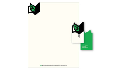 Green Paper letterhead and business card - stationary