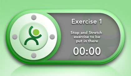 Stop and Stretch video workout widget design