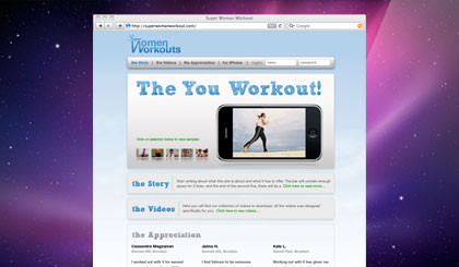 Superwoman Workout website homepage