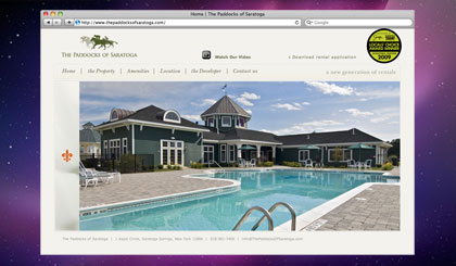 The Paddocks of Saratoga website homepage and slideshow