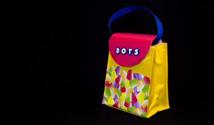 Tootsie Roll lunch bag - Dots yellow and red