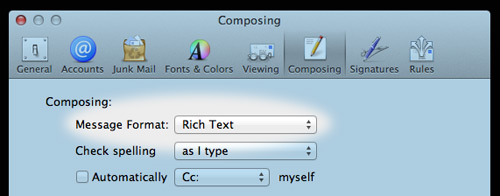 Mail Composing Settings