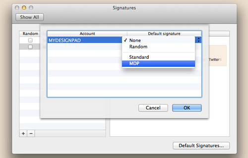 Confirm default signature