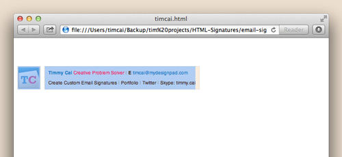 Copying HTML signature in Safari
