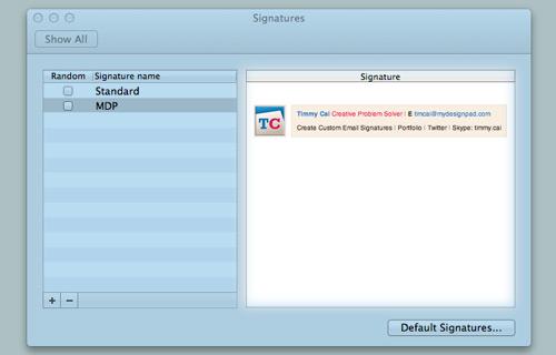 Inserting HTML signature