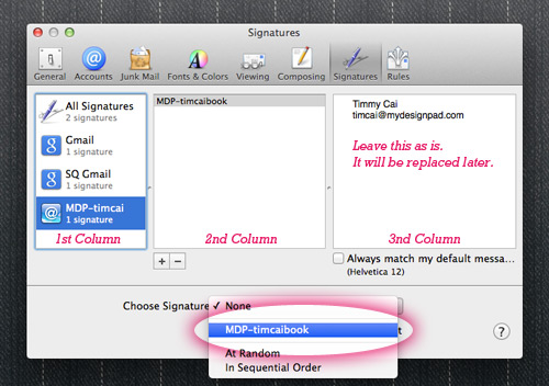 Mac Mail apply signature