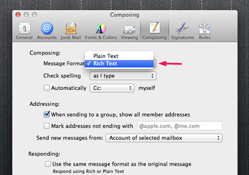 Mac Mail Composing Setting