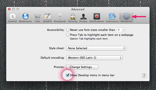 Safari Preferences-Advanced